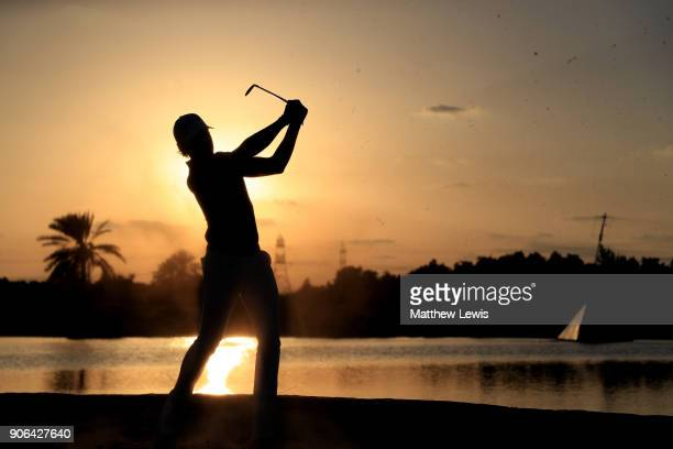 Joakim Lagergren of Sweden plays his second shot on the ninth hole during round one of the Abu Dhabi HSBC Golf Championship at Abu Dhabi Golf Club on...