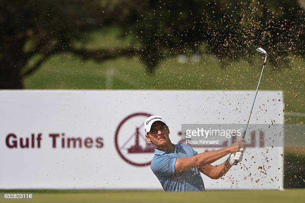 Joakim Lagergren of Sweden plays his third shot from a bunker on the first hole during the second round of the Commercial Bank Qatar Masters at the...