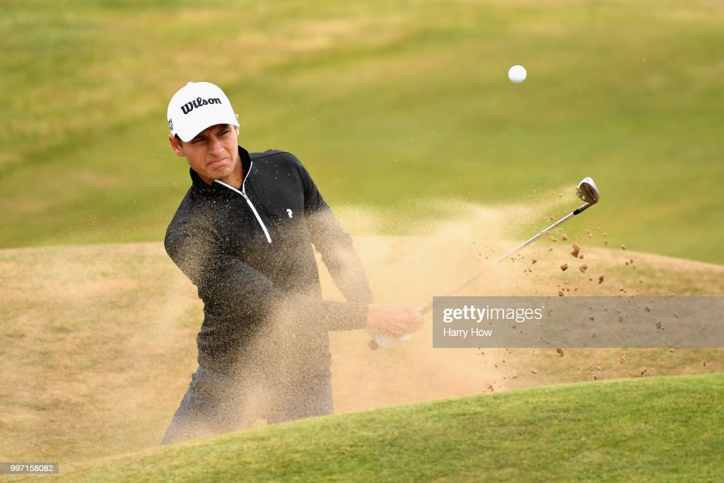 Joakim Lagergren of Sweden plays out of a bunker on hole twelve during day one of the Aberdeen Standard Investments Scottish Open at Gullane Golf Course on July 12, 2018 in Gullane, Scotland.