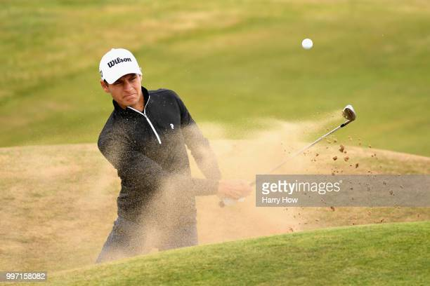 Joakim Lagergren of Sweden plays out of a bunker on hole twelve during day one of the Aberdeen Standard Investments Scottish Open at Gullane Golf...