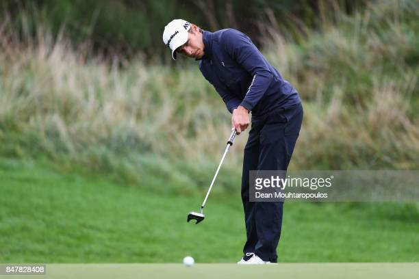 Joakim Lagergren of Sweden putts on the 2nd green during day 3 of the European Tour KLM Open held at The Dutch on September 16 2017 in Spijk...