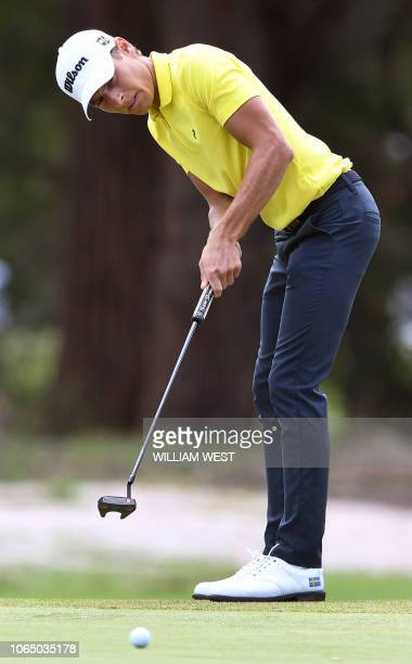 Joakim Lagergren of Sweden reacts missing a putt on the final day of the World Cup of Golf at the Metropolitan Golf Club in Melbourne on November 25...