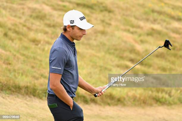 Joakim Lagergren of Sweden reacts to his par putt on hole one during day four of the Aberdeen Standard Investments Scottish Open at Gullane Golf...