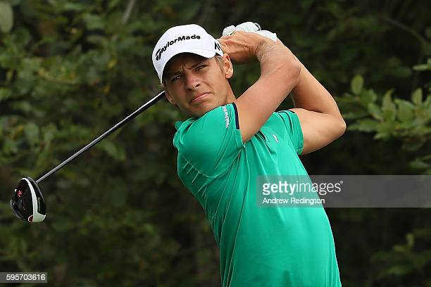 Joakim Lagergren of Sweden tees off on the 1st hole during the second round of Made in Denmark at Himmerland Golf Spa Resort on August 26 2016 in...