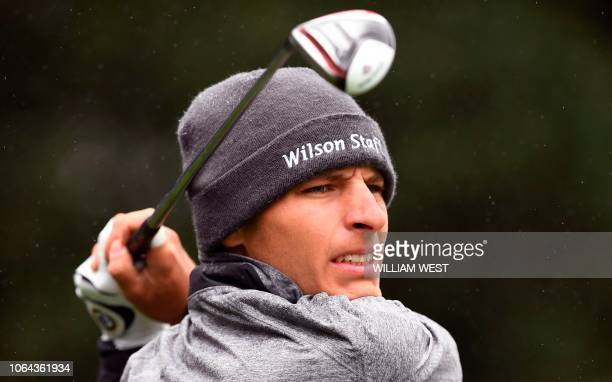 Joakim Lagergren of Sweden tees off on the second day of the World Cup of Golf at the Metropolitan Golf Club in Melbourne on November 23 2018 / IMAGE...