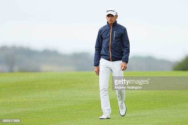Joakim Lagergren of Sweden walks down the 15th hole during the second round of Made in Denmark at Himmerland Golf Spa Resort on August 26 2016 in...