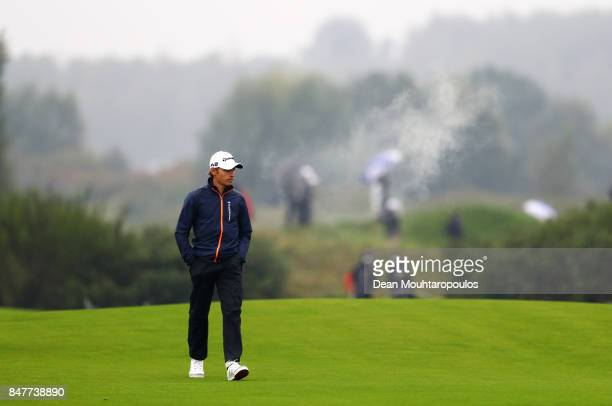 Joakim Lagergren of Sweden walks on the 9th fairway during day three of the KLM Open at The Dutch on September 16 2017 in Spijk Netherlands