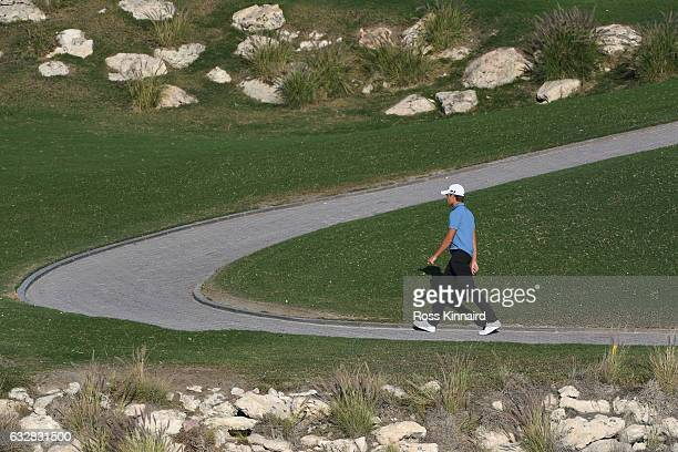 Joakim Lagergren of Sweden walks up to the fourth green during the second round of the Commercial Bank Qatar Masters at the Doha Golf Club on January...