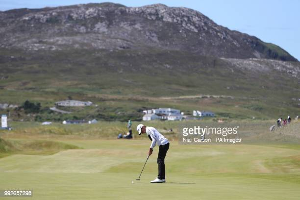 Joakim Lagergren on the 18th green during day two of the Dubai Duty Free Irish Open at Ballyliffin Golf Club