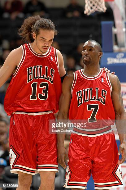 Joakim Noah and Ben Gordon of the Chicago Bulls look on during their game against the Los Angeles Clippers at Staples Center January 28 2009 in Los...
