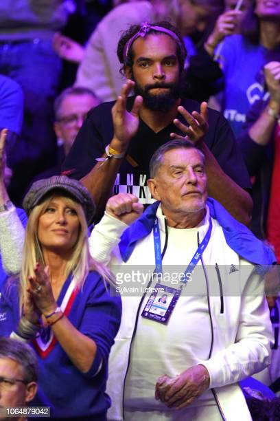 Joakim Noah and Isabelle Camus and JeanClaude Camus attend Day 2 of the Davis Cup Final 2018 between France and Croatia at Stade Pierre Mauroy on...