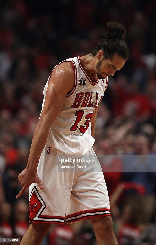 Joakim Noah #13 of the Chicago Bulls celebrates a win over the Indiana Pacers in Game One of the Eastern Conference Quarterfinals in the 2011 NBA Playoffs at the United Center on April 16, 2011 in Chicago, Illinois. The Bulls defeated the Pacers 104-99.