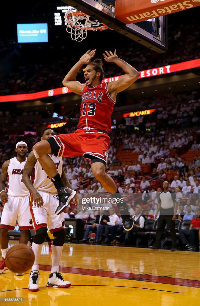 Joakim Noah #13 of the Chicago Bulls dunks during Game Two of the Eastern Conference Semifinals of the 2013 NBA Playoffs against the Miami Heat at American Airlines Arena on May 8, 2013 in Miami, Florida.