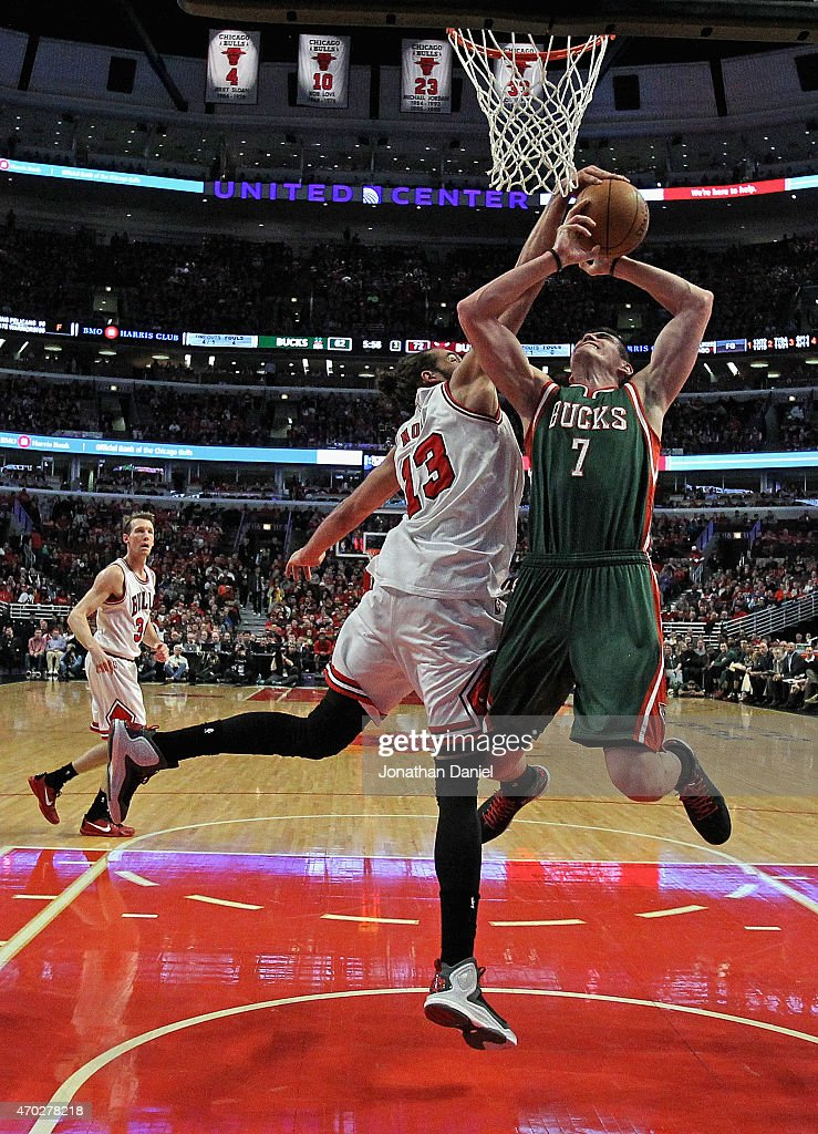 Joakim Noah #13 of the Chicago Bulls knocks the ball away from Ersan Ilyasova #7 of the Milwaukee Bucks during the first round of the 2015 NBA Playoffs at the United Center on April 18, 2015 in Chicago, Illinois. The Bulls defeated the Bucks 103-91.