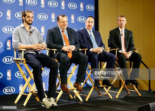 Joakim Noah of the Chicago Bulls left sits next to Chicago Bulls Head Coach Tom Thibodeau second left Chicago Bulls General Manager Gar Forman second...