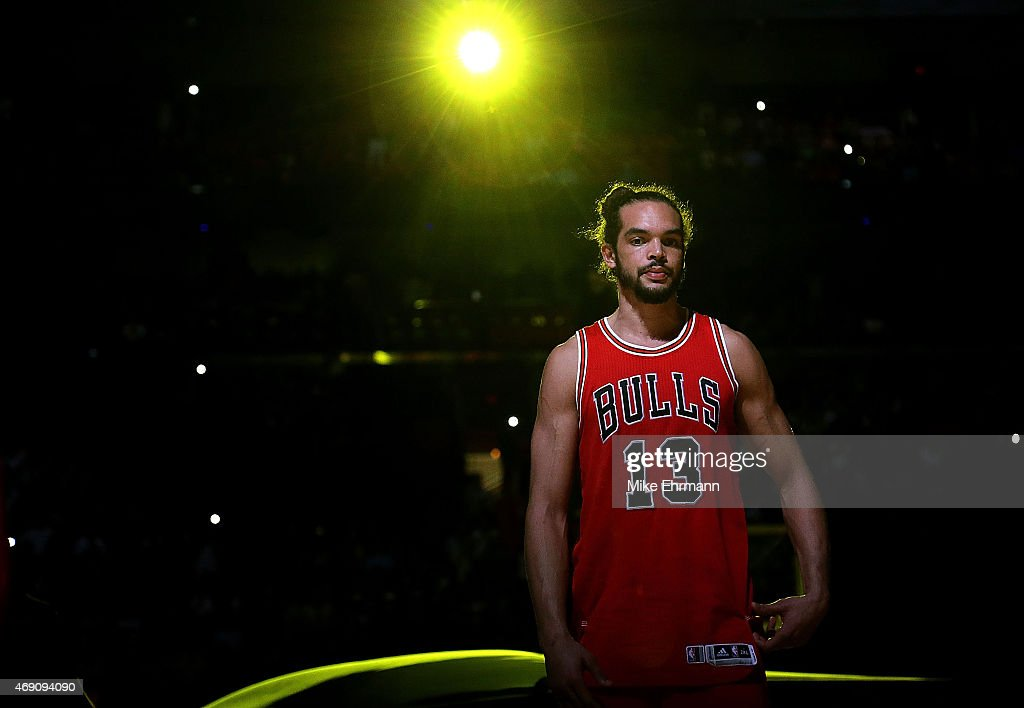 Joakim Noah #13 of the Chicago Bulls looks on during a game against the Miami Heat at American Airlines Arena on April 9, 2015 in Miami, Florida.