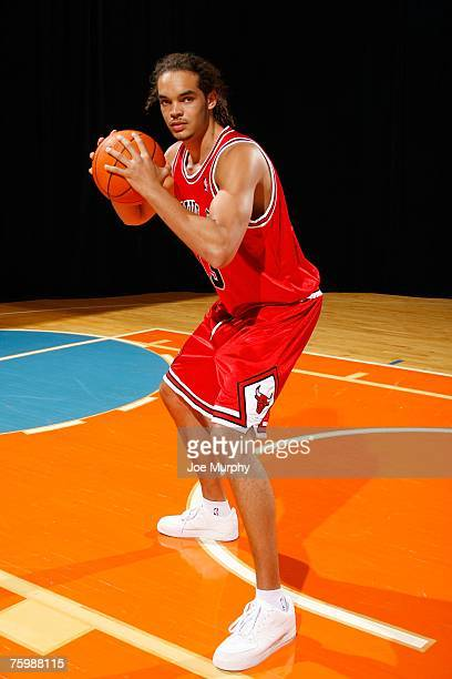 Joakim Noah of the Chicago Bulls poses for an action portrait during the 2007 NBA Rookie Photo Shoot on July 27 2007 at the MSG Training Facility in...
