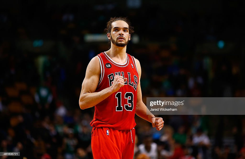 Joakim Noah #13 of the Chicago Bulls reacts to their win in the final seconds of the fourth quarter against the Boston Celtics during the game at TD Garden on March 30, 2014 in Boston, Massachusetts.