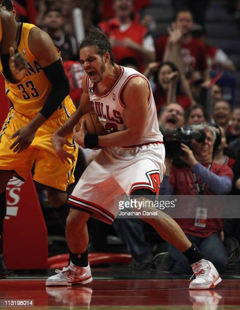 Joakim Noah of the Chicago Bulls yells as he grabs a rebound against the Indiana Pacers in Game Five of the Eastern Conference Quarterfinals in the...