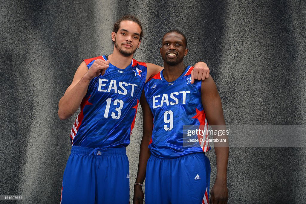 Joakim Noah #13 of the Eastern Conference All-Star Team and Luol Deng #9 of the Eastern Conference All-Star Team poses for portraits prior to the 2013 NBA All-Star Game at Toyota Center on February 17, 2013 in Houston, Texas.