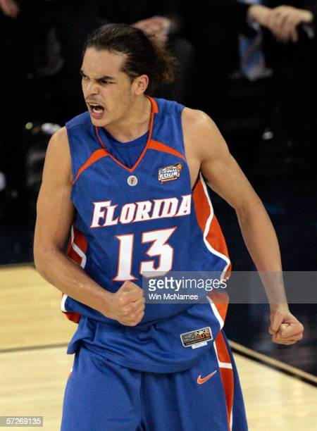 Joakim Noah of the Florida Gators reacts after a play against the UCLA Bruins during the National Championship game of the NCAA Men's Final Four on...