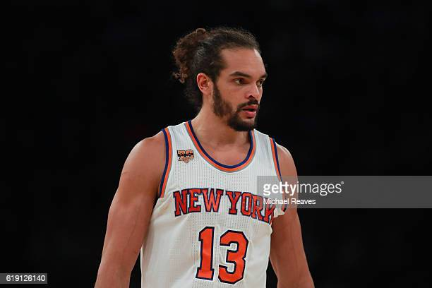 Joakim Noah of the New York Knicks looks on against the Memphis Grizzlies during the first half at Madison Square Garden on October 29 2016 in New...