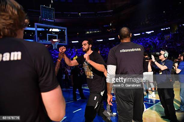 Joakim Noah of the New York Knicks runs out before the game against the Atlanta Hawks on January 16 2017 at Madison Square Garden in New York New...