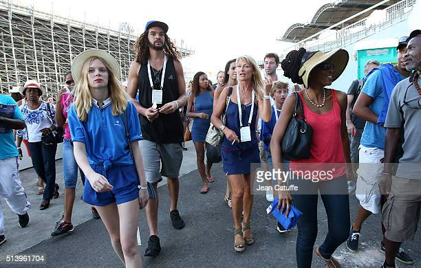 Joakim Noah son of Yannick Noah and NBA player for Chicago Bulls and Isabelle Camus wife of Yannick Noah attend day 2 of the Davis Cup World Group...