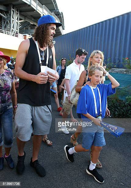 Joakim Noah son of Yannick Noah and NBA player for Chicago Bulls Isabelle Camus wife of Yannick Noah and their son Joalukas Noah attend day 2 of the...