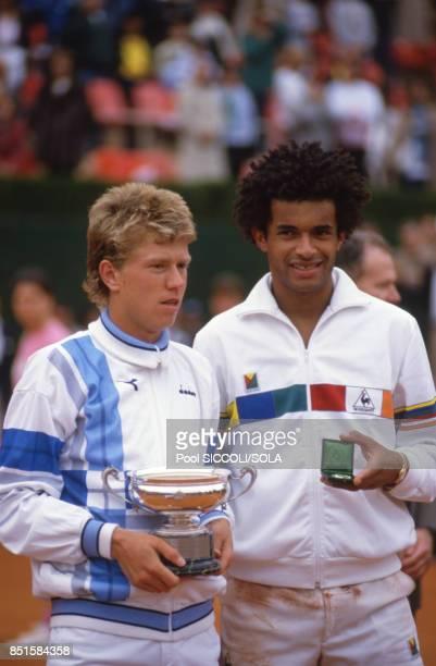 Joakim Nyström et Yannick Noah finalistes du tournoi à Monaco le 27 avril 1986