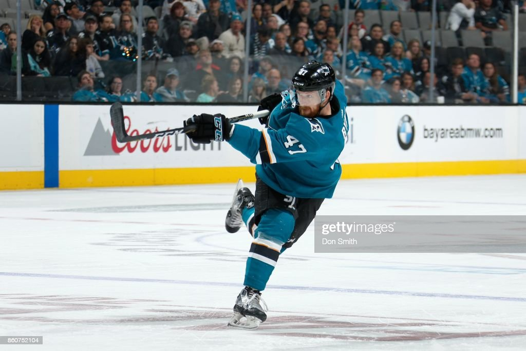 Joakim Ryan #47 of the San Jose Sharks fires the puck off during a NHL game against the Buffalo Sabres at SAP Center at San Jose on October 12, 2017 in San Jose, California.