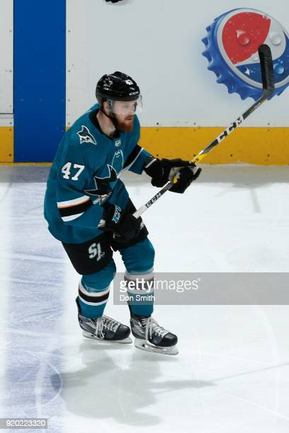 Joakim Ryan of the San Jose Sharks looks during a NHL game against the Dallas Stars at SAP Center on February 18 2018 in San Jose California