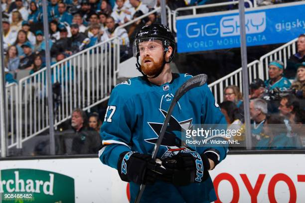 Joakim Ryan of the San Jose Sharks looks on during the game against the Arizona Coyotes at SAP Center on January 13 2018 in San Jose California