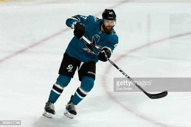 Joakim Ryan of the San Jose Sharks looks on in Game Six of the Western Conference Second Round against the Vegas Golden Knights during the 2018 NHL...