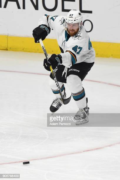 Joakim Ryan of the San Jose Sharks passes the puck during a game against the Los Angeles Kings at STAPLES Center on January 15 2018 in Los Angeles...
