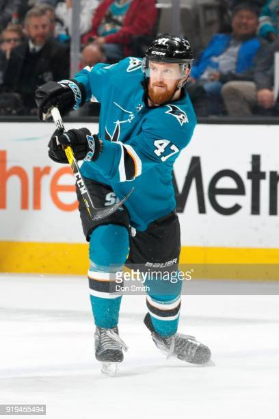 Joakim Ryan of the San Jose Sharks passes the puck during a NHL game against the Arizona Coyotes at SAP Center on February 13 2018 in San Jose...