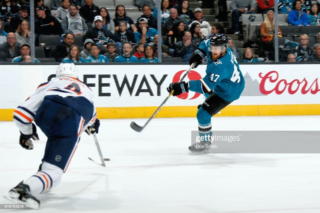 Joakim Ryan #47 of the San Jose Sharks shoots the puck to score his second NHL goal during a game against the Edmonton Oilers at SAP Center on February 10, 2018 in San Jose, California.
