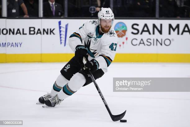 Joakim Ryan of the San Jose Sharks skates with the puck during the first period against the Vegas Golden Knights at TMobile Arena on November 24 2018...