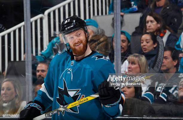 Joakim Ryan of the San Jose Sharks smiles during the game against the Dallas Stars at SAP Center on February 18 2018 in San Jose California