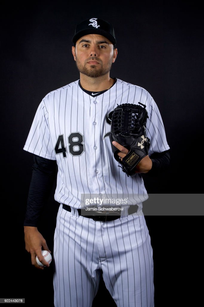 Joakim Soria #48 of the Chicago White Sox poses during MLB Photo Day on February 21, 2018 in Glendale, Arizona.