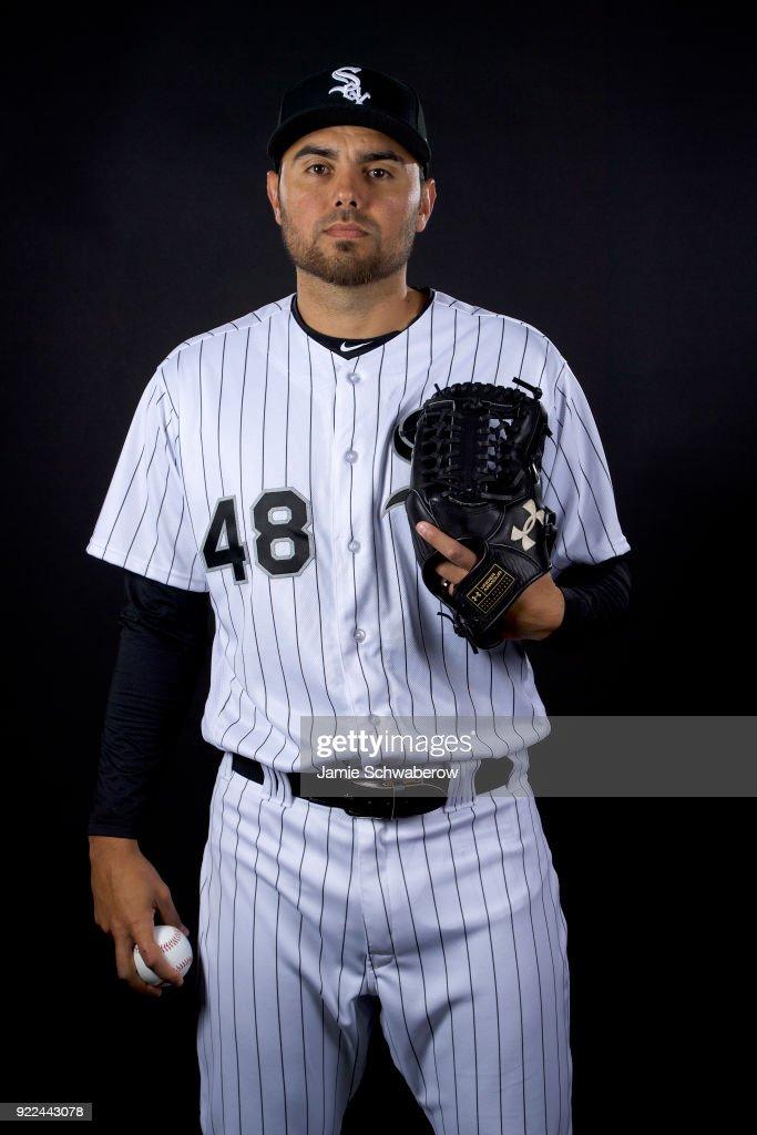 Joakim Soria #48 of the Chicago White Sox poses during MLB Photo Day on February 21, 2018 in Glendale, Arizona.
