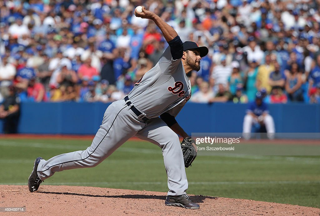 Joakim Soria #38 of the Detroit Tigers delivers a pitch in the ninth inning during MLB game action against the Toronto Blue Jays on August 9, 2014 at Rogers Centre in Toronto, Ontario, Canada.