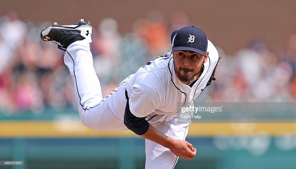 Joakim Soria #38 of the Detroit Tigers pitches in the ninth inning of the game against the Colorado Rockies at Comerica Park on August 3, 2014 in Detroit, Michigan. The Tigers defeated the Rockies 4-0.