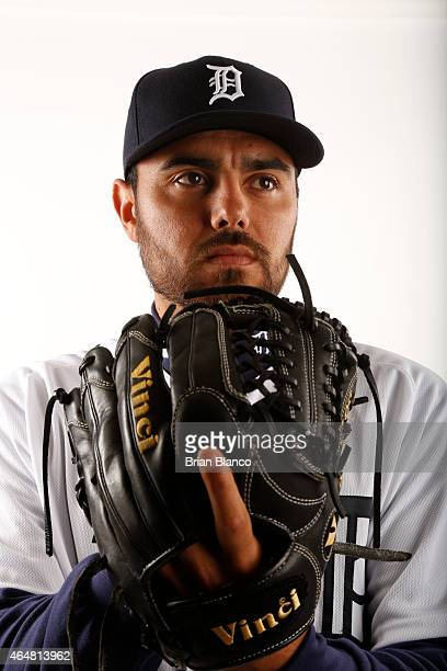 Joakim Soria of the Detroit Tigers poses for a photo during the Tigers' photo day on February 28 2015 at Joker Marchant Stadium in Lakeland Florida