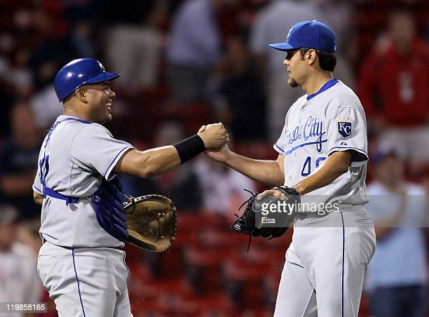 Joakim Soria of the Kansas City Royals and Brayan Pena celebrate the win over the Boston Red Sox on July 26 2011 at Fenway Park in Boston...