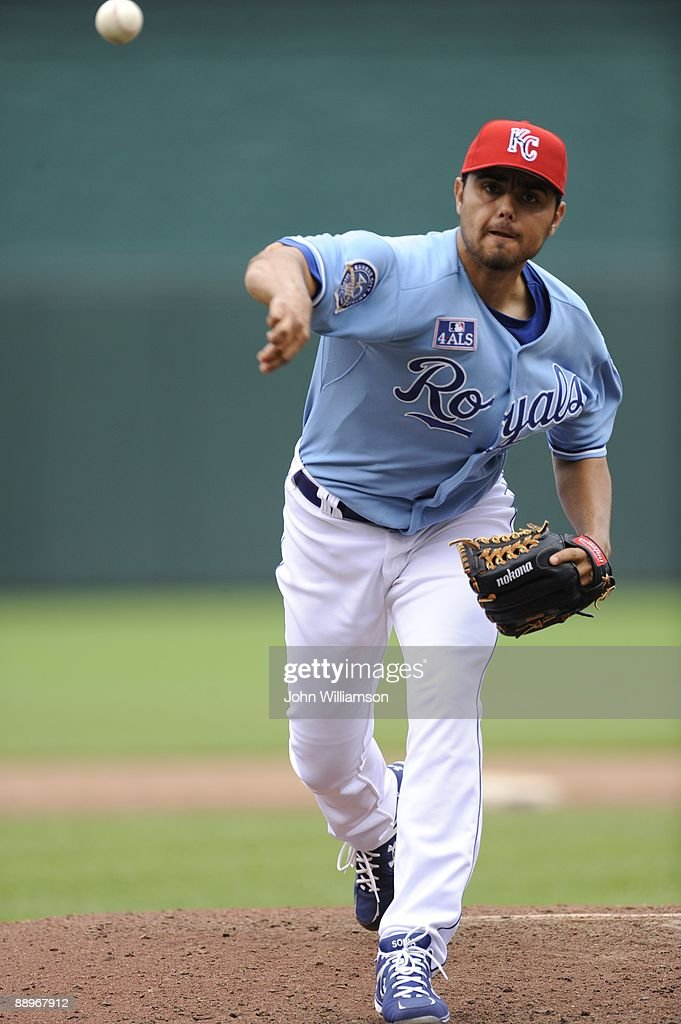 Joakim Soria of the Kansas City Royals pitches during the game against the Chicago White Sox at Kauffman Stadium in Kansas City, Missouri on Saturday, July 4, 2009. The Royals defeated the White Sox 6-4.