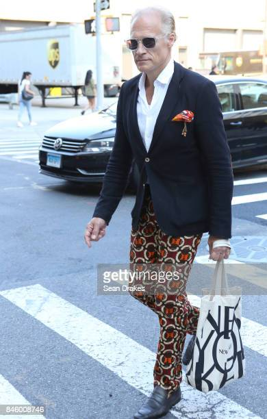 Joakim von Ditmar wearing his sustainable fashion brand attends the Spring/Summer 2018 womenswear collection shows during New York Fashion Week at...