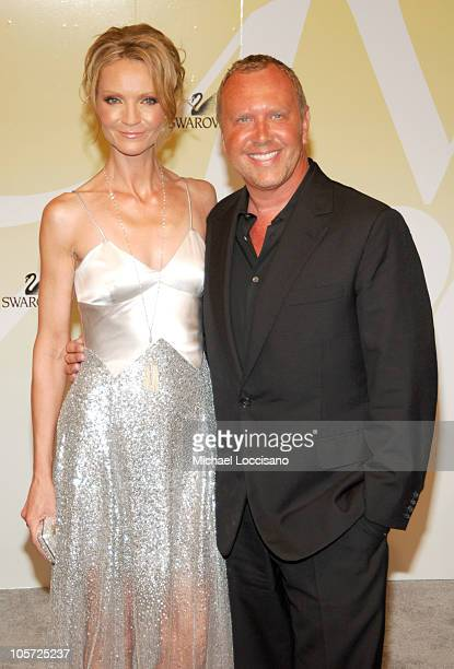 Joan Allen and Michael Kors during 2005 CFDA Fashion Awards Arrivals at The New York Public Library in New York City New York United States