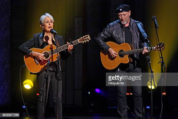 """75th Birthday Celebration"""" at Beacon Theater on Wednesday night, January 27, 2016.This image:Joan Baez, left, and Richard Thompson performing """"House..."""