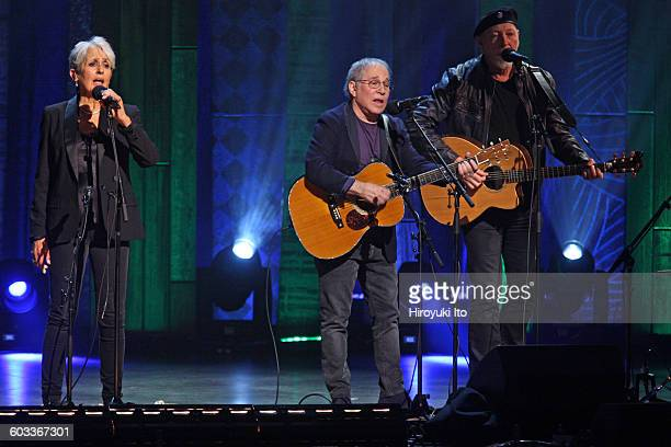 """75th Birthday Celebration"""" at Beacon Theater on Wednesday night, January 27, 2016.This image:From left, Joan Baez, Paul Simon and Richard Thompson..."""